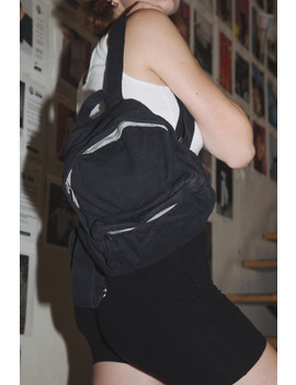 Navy Blue Canvas Mini Backpack by Brandy Melville