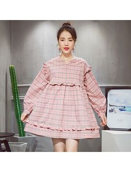 Keiko   Frilled Plaid Long Sleeve A Line Dress by Keiko