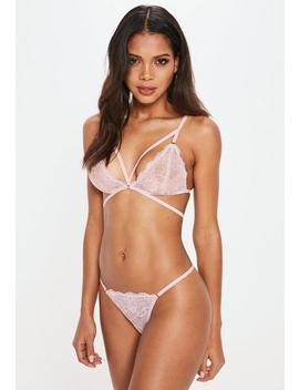 Pink Strappy Lace Triangle Bra by Missguided