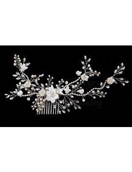 Silver Bridal Floral Crystal Hair Comb,Bridal Floral Hair Piece, Crystal Wedding Hair Clip,Crystal Hair Comb,Bridal Headpiece by Etsy