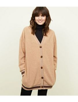Camel Borg Oversized Tipped Cardigan by New Look