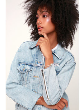 Ex Boyfriend Zip Sleeve Trucker Light Wash Denim Jacket by Levi's