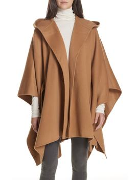 New Divide Hooded Poncho Coat by Theory