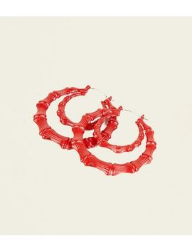 Red Double Hoop Earrings by New Look