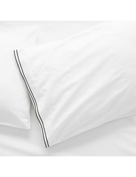 Overlock Black Stitch Standard Pillowcases Set Of 2 by Crate&Barrel