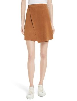 Double Face Suede Wrap Skirt by Theory