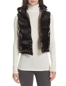 Shrunken Patent Puffer Vest by Theory