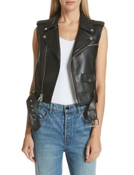 Bedford Vest Faux Leather Moto Vest by Theory