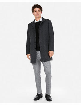 Textured Wool Blend Twill Topcoat by Express