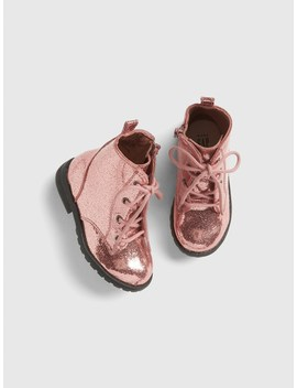 Metallic Lace Up Booties by Gap