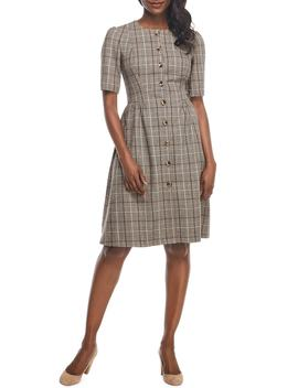 Jeanie Woodland Plaid Button Front Dress by Gal Meets Glam Collection