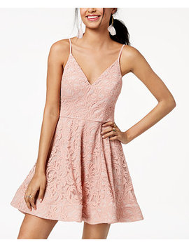 Juniors' Lace Fit & Flare Dress by Sequin Hearts
