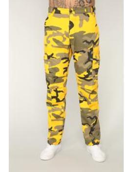 Thomas Cargo Pants   Yellow by Fashion Nova
