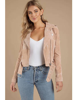 Blank Nyc See You Later Blush Suede Moto Jacket by Tobi