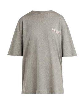 Oversized Logo Print Stretch Cotton Jersey T Shirt by Balenciaga
