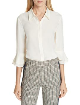 Arianne Ruffle Cuff Silk Shirt by Tory Burch