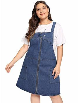 Romwe Women's Plus Size Loose Casual A Line Zip Denim Pocket Overall Dress by Romwe