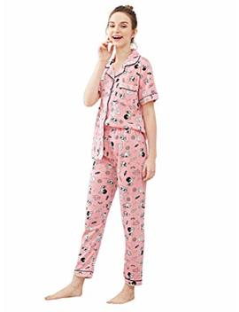 She In Women's Contrast Button Up Short Sleeve Pajama Set by She In