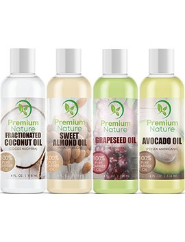Carrier Oils For Essential Oil   4 Piece Variety Pack Gift Set Coconut Oil Grapeseed Oil Avocado Oil & Sweet Almond Best Oils For Stretch Mark Dry Skin Moisturizer Hair Body Massage Mixing 4oz Each by Premium Nature