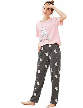 She In Women's Summer Cartoon Cat Print Short Sleeve Pajamas Set by She In