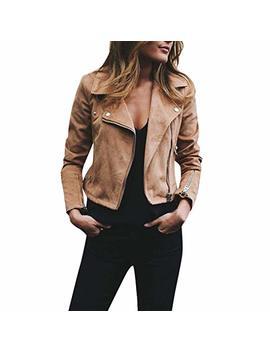 Jpoqw Autumn Women's Bomber Jacket Rivet Zipper Long Sleeve Casual Solid Coat Outwear by Jpoqw Autumn
