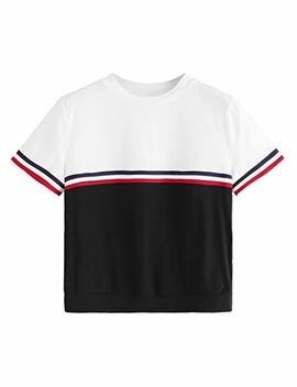 Romwe Women's Color Block Round Neck Short Sleeve Pullover Striped Tee Shirt Top by Romwe