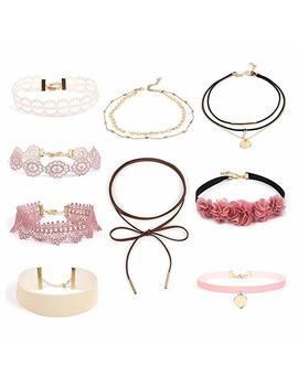 Halo Va Choker Set, Fashion Creative Choker Necklace, Classic Pink Flower Lace Choker Tattoo Necklace For Women Girls by Halo Va