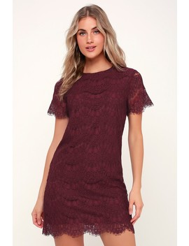 Take Me To Brunch Burgundy Lace Shift Dress by Lulus