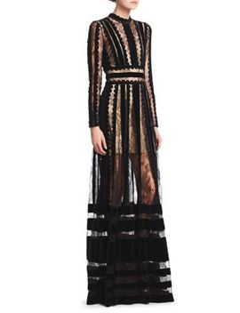 Sheer Lace Velvet Paneled Gown by Elie Saab