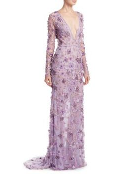 Floral V Neck Gown by Naeem Khan