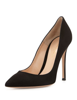 Suede Point Toe Pump, Black by Gianvito Rossi