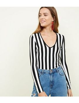 Black Stripe Long Sleeve Bodysuit by New Look