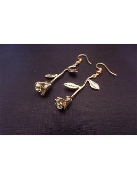 Rose Gold Earrings, Rose Earrings, Flower Charm Earrings, Rosebud Earrings, Anniversary Gift, Romantic Gift, Valentines Gift by Etsy