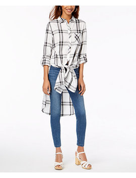 By Ikeddi Juniors' Plaid Tie Front Tunic by Ultra Flirt