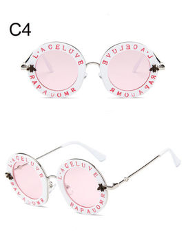 Retro Round Sunglasses Women Brand Designer English Letters Bee Metal Frame by Hindfield