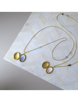 Dalj   One Long Locket Necklace; Modern Geometric White Or Smoky Quartz Triangle Gemstones; Oval Brass Medallion Pendant By Infin Eight by Etsy