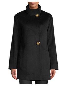 Funnel Neck Top Coat W/ Large Buttons by Fleurette