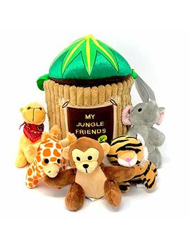 Stuffed Plush Talking Safari Animals   Educational Jungle Friends 6  Piece Toy Play Set For Kids With Tree Carrier   Includes Monkey, Elephant, Tiger And Giraffe That Make Noise   Camel Claps Hands by Fote