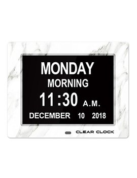 Clear Clock [Newest Version Extra Large Digital Memory Loss Calendar Day Clock With Optional Day Cycle + Alarm Perfect For Seniors + Impaired Vision Dementia Clock (White Marble) by Clear Clock