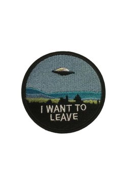 I Want To Leave Spaceship Ufo Embroidered Logo Iron On Patch by Etsy