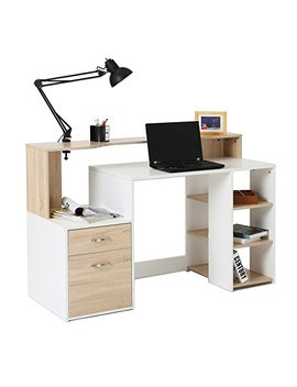 Homcom 55'' Multi Shelf Dorm And Home Office Computer Desk   Oak/White by Homcom