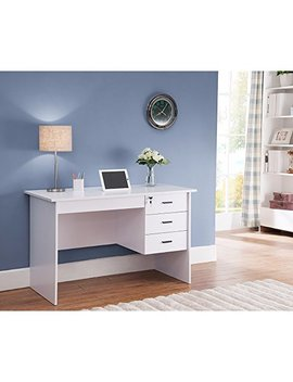 Benzara Modern Office Desk With Three Locking Drawers, White by Benzara