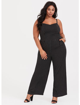 Black And White Stripe Wide Leg Challis Jumpsuit by Torrid
