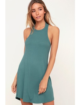 Linked Dusty Sage Ribbed Halter Tank Dress by Rvca