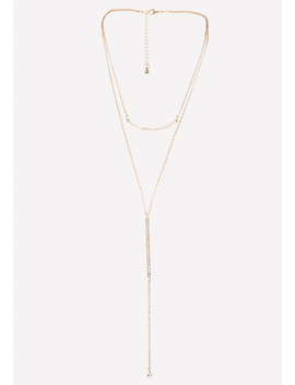 Gold & Crystal Lariat by Bebe