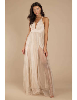 Cory Light Gold Plunging Side Slit Maxi Dress by Tobi
