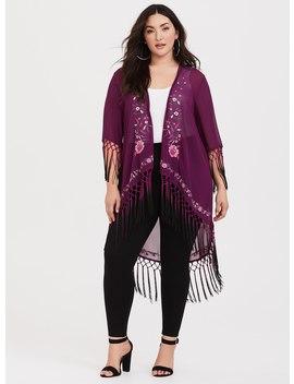 Purple Embroidered Fringe Chiffon Kimono by Torrid