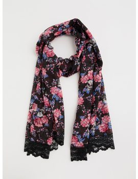 Lace Trim Rose Skull Scarf by Torrid