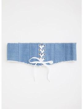 Frayed Denim Lace Up Corset Belt by Torrid