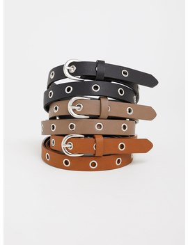 Faux Leather Grommet Belt   Pack Of 3 by Torrid